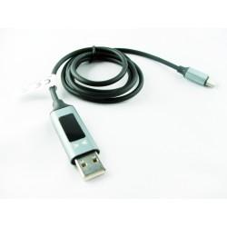 KABEL USB TYP-C  CZARNY Z WYŚWIETLACZEM