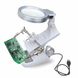 UCHWYT TRZECIA RĘKA Z LUPĄ I PODSTAWKĄ + LED