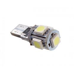 ŻARÓWKA LED W5W T10 1,5W  BIAŁA ZIMNA 5-LED