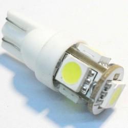 ŻARÓWKA LED W5W T10 0,6W  BIAŁA ZIMNA 5-LED