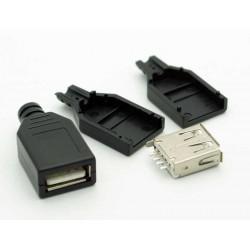GNIAZDO USB TYP A NA KABEL Z OSŁONĄ