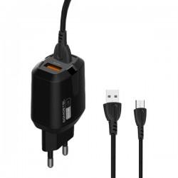 ŁADOWARKA SIECIOWA 2,4A 2XUSB +KABEL MICRO USB